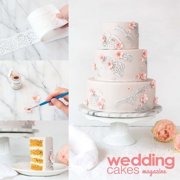 The Tutorial For My Silver Lace Wedding Cake Was Published In Cakes Magazine I Ve Been Lately Hugely Inspired By Flexi Ice Edible And Metallic