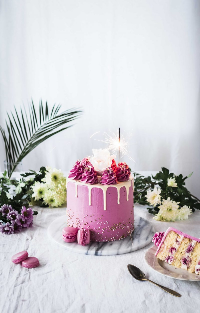 Super Easy Raspberry Caramel Drip Cake By Emma Ivane