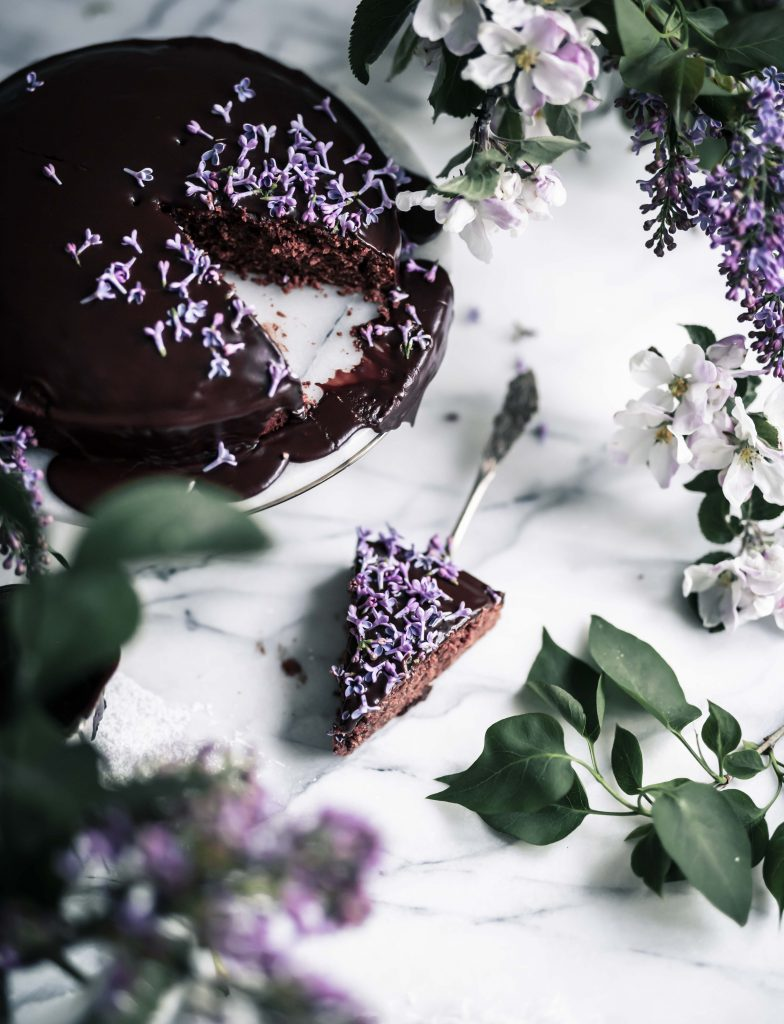 mocha cake with edible flowers