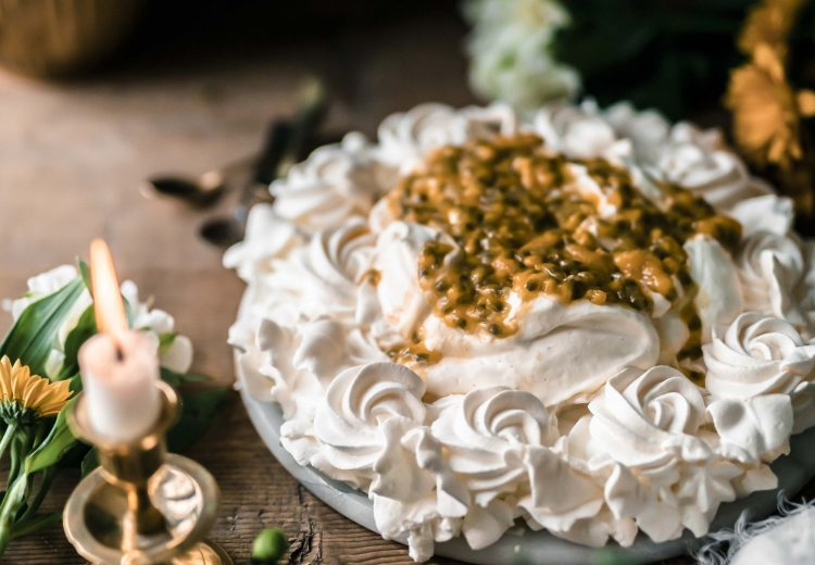 four ingredient passion fruit pavlova recipe by Emma Ivane