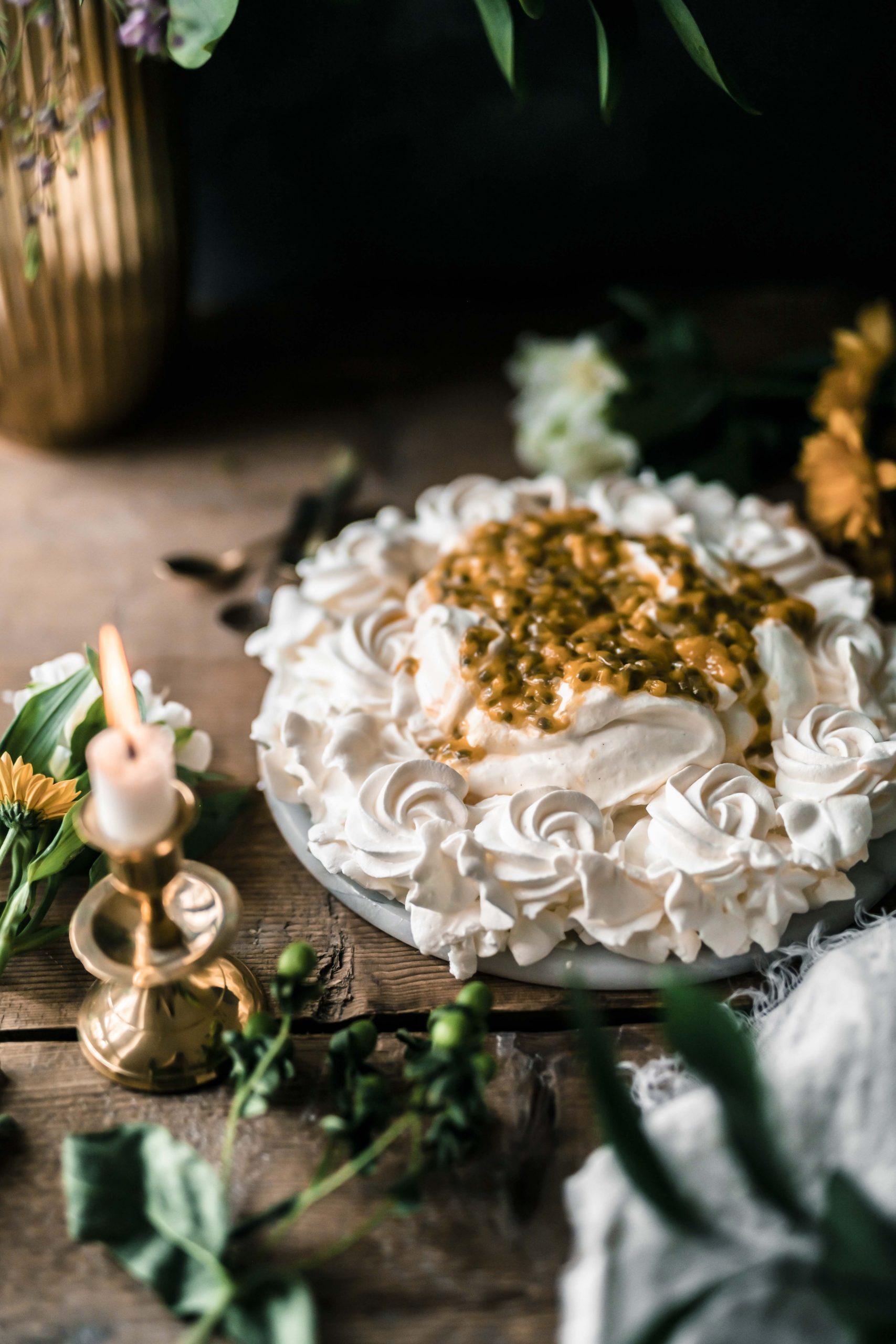 four ingredient passion fruit pavlova recipe by Emma Ivane