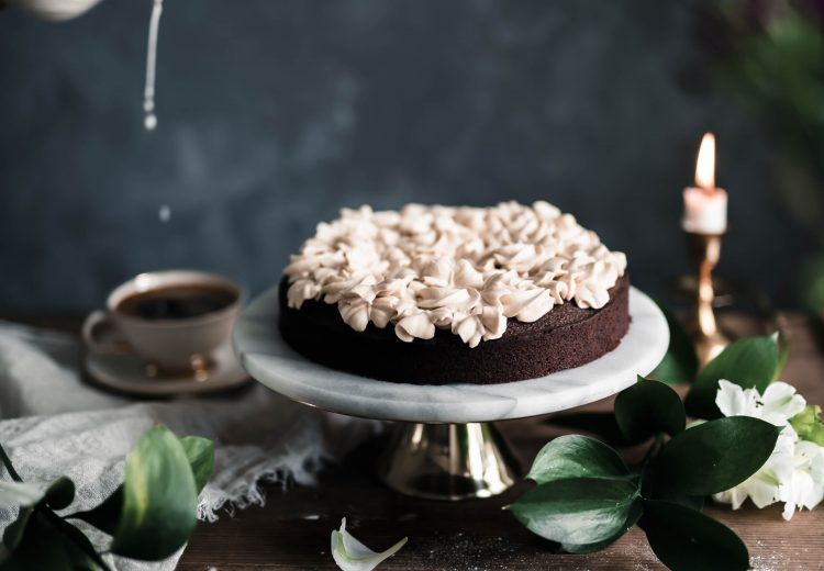 Easy one bowl chocolate cake with caramel whipped cream